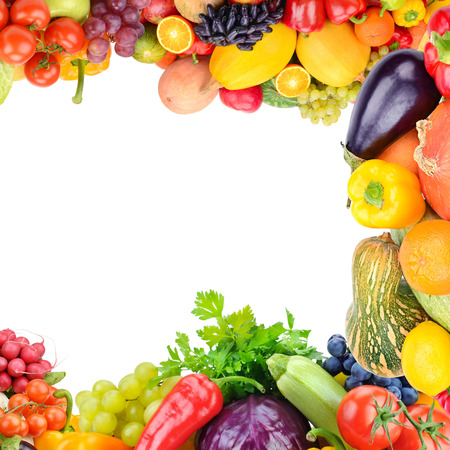 Photo for Frame of set vegetables and fruits on white background. Copy space. Top view. Free space for text. - Royalty Free Image