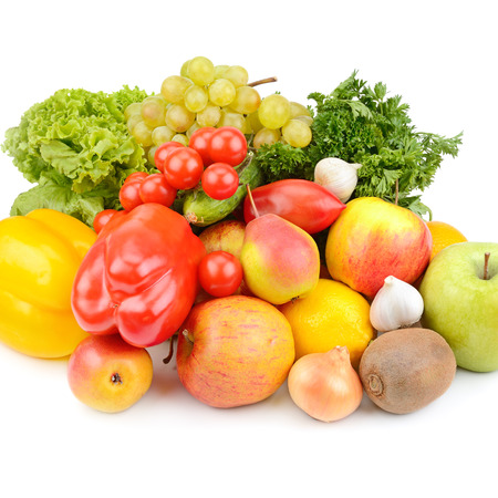 Photo for Fruits and vegetables isolated on white - Royalty Free Image