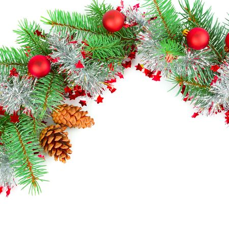Photo pour Christmas decoration baubles with branches of fir tree isolated on white - image libre de droit