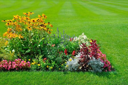 Foto de Scenic View of Colorful Flowerbeds, a Lush Green Lawn and a Winding Grass - Imagen libre de derechos