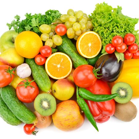 Fruits and vegetables isolated on a white background. Healthy food. Flat lay,top view.