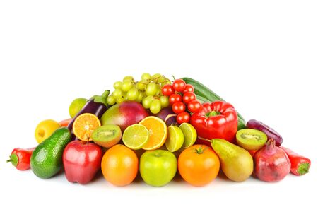 Photo for Set of vegetables and fruits isolated on a white - Royalty Free Image