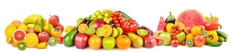 Photo for Panoramic collection fresh fruits and vegetables isolated on white background. Collage. Wide photo . - Royalty Free Image