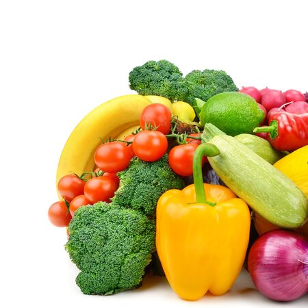 Photo pour Set of vegetables and fruits isolated on a white background. - image libre de droit
