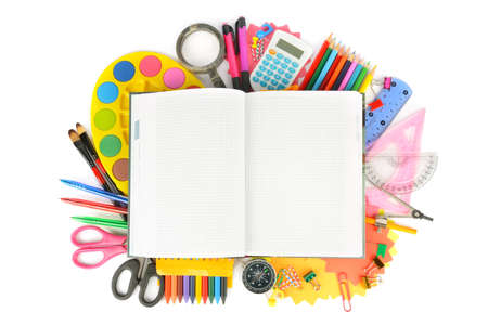 Photo pour Collection of school supplies, isolated on pure white background. Back to school. Free space for text. - image libre de droit