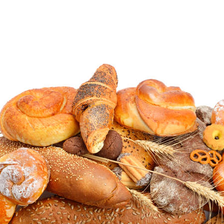 Foto für Assortment of bread, buns and croissant isolated on white background. Healthy food. Free space for text. - Lizenzfreies Bild