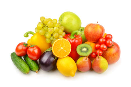 Assortment of fruits and vegetables isolated on white background.