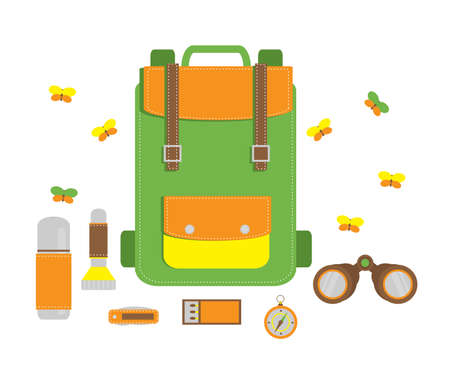 Backpack and various things for tourism. Vector illustration.
