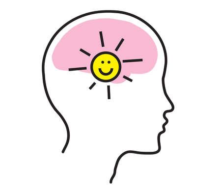 Illustration pour Brain and head silhouette on a white background. Positive. Vector illustration. - image libre de droit