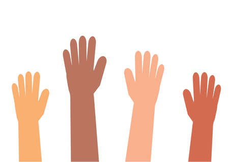 Illustration for Hands of different people on a white background. Vector illustration. - Royalty Free Image