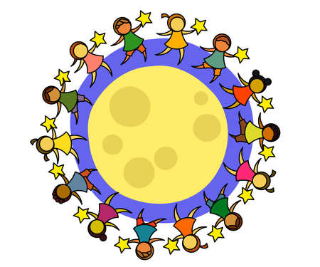 Illustration for Various children on the moon. Cartoon. Vector illustration. - Royalty Free Image