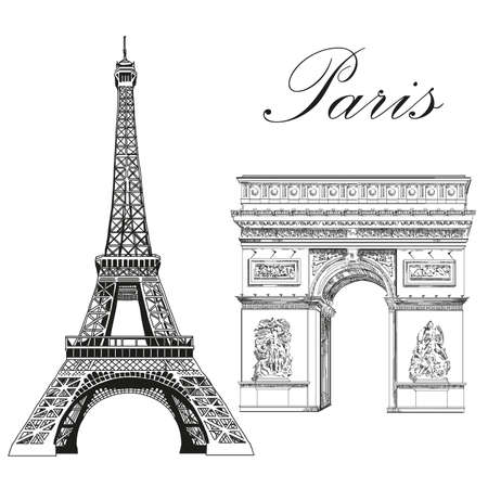 Eiffel tower and Triumphal Arch (Landmarks of Paris, France) vector isolated hand drawing illustration in black color on white background