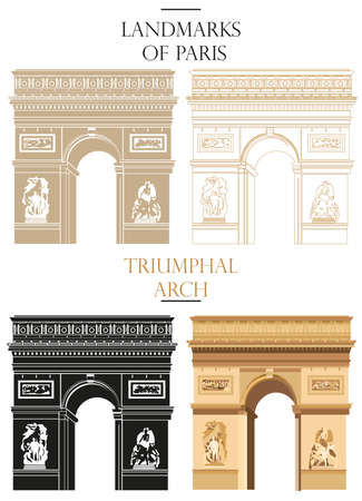 Set of vector isolated Triumphal Arch in black, white and colors: contour and silhouette on white background