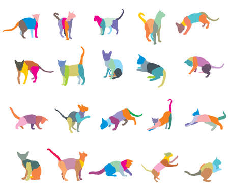 Ilustración de Set of colorful mosaic different breeds cats silhouettes (sitting, standing, lying, playing) isolated on white background. Vector illustration. - Imagen libre de derechos
