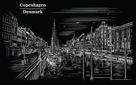 Pier in Copenhagen, Denmark. Landmark of Denmark. Vector hand drawing illustration in white color isolated on black background.