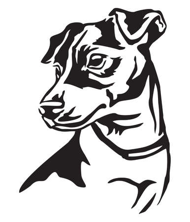 Illustration for Decorative portrait of dog Jack Russell Terrier, vector isolated illustration in black color on white background - Royalty Free Image