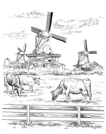 Illustration for Vector hand drawing Illustration of watermill in Amsterdam (Netherlands, Holland). Landmark of Holland. Watermill and cows grazing on the meadow. Vector hand drawing illustration in black color isolated on white background. - Royalty Free Image