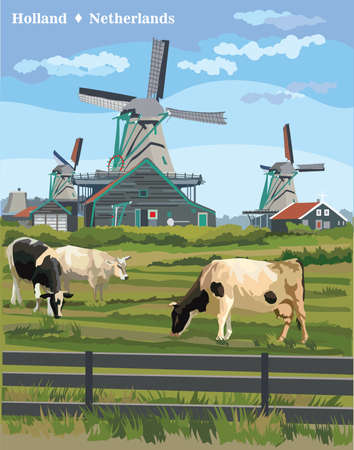 Illustration for Vector colorful Illustration of watermill in Amsterdam (Netherlands, Holland). Landmark of Holland. Watermill and cows grazing on the meadow.Colorful vector illustration. - Royalty Free Image