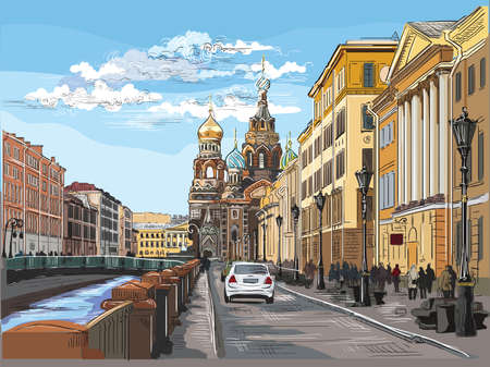 Illustration pour Cityscape of Church of the Savior on Blood in Saint Petersburg, Russia and embankment of river. Colorful vector hand drawing illustration. - image libre de droit