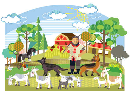 Colorful decorative outline cute farmer with german shepherd herds white goats standing in profile in garden. Farm vector cartoon flat illustration in different colors isolated on white background.