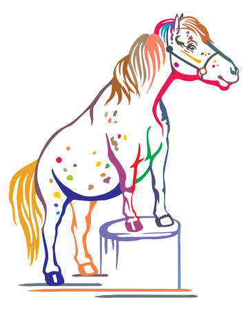 Ilustración de Colorful decorative portrait of pony standing in profile on a stump, training pony. Vector isolated illustration in black color on white background. Image for design and tattoo. - Imagen libre de derechos
