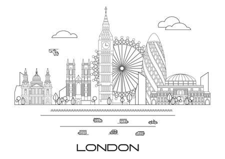 Vector line art illustration of landmarks of London, England. London city skyline vector illustration in black and white colors isolated on white background. London vector icon. London building outline.