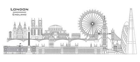 Illustration pour Vector line art illustration of landmarks of London, England. London city skyline panoramic vector illustration isolated on white background. London vector icon. London building outline. - image libre de droit