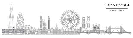 Vector panoramic line art illustration of landmarks of London, England. London city skyline vector illustration isolated on white background. London vector icon. London building outline.