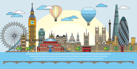 Colorful vector line art illustration of London landmarks. London skyline vector illustration in blue background. Set of vector colorful illustration of attractions of London, England.
