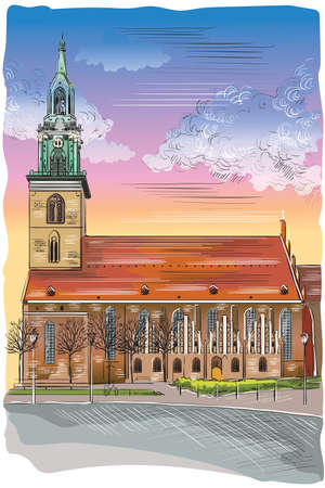 Church of St. Mary in Berlin (Lubeck), Germany. Landmark of Berlin. Vector colorful hand drawing illustration isolated on white background.