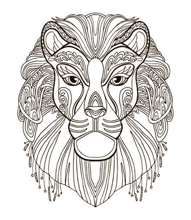 Illustration for Vector coloring ornamental portrait of lion. Decorative abstract vector contour illustration isolated on white background. Stock illustration for adult coloring, design, print, decoration and tattoo. - Royalty Free Image