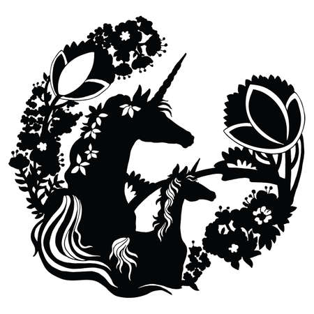 Illustration pour Vector beautiful unicorn and foal with trees and flowers in circle composition.Black silhouette illustration isolated on white background. For template, print, stickers, design, weather vane, application and tattoo. - image libre de droit