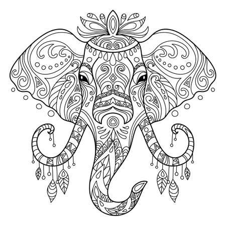 Illustration for Tangle african elephant coloring book page for adult - Royalty Free Image