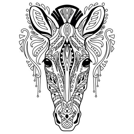 Illustration for Tangle zebra coloring book page for adult - Royalty Free Image