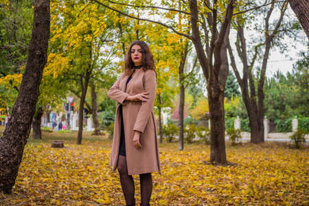 curly haired girl in the autumn parkの写真素材