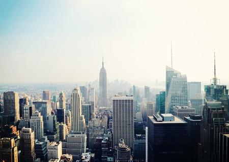 New York City Manhattan skyline aerial view in the fog