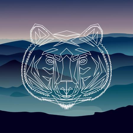 Ilustración de Geometric front bear illustration background - Imagen libre de derechos
