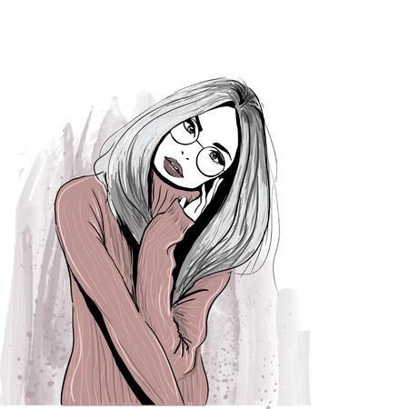 Ilustración de cozy girl in glasses - Imagen libre de derechos
