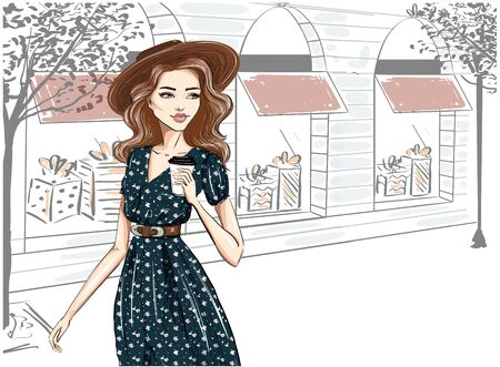 Illustration pour Fashionably dressed woman on the street in hat - image libre de droit