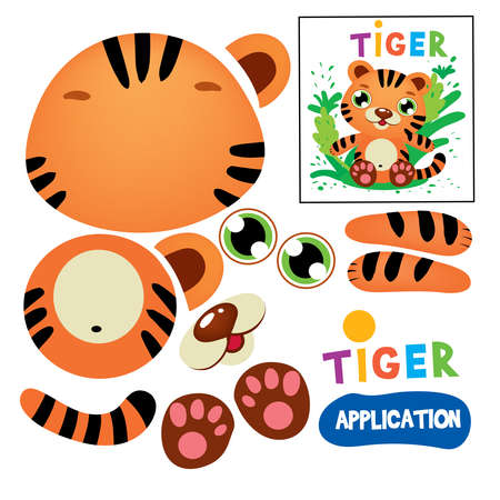 Illustration pour Cut Glue Tiger Children Paper Application Game. Kid Model Craft Learning Finger Motility. Cutout with Scissors Animal Silhouette Print Modeling. Educational Playing Flat Cartoon Vector Illustration - image libre de droit