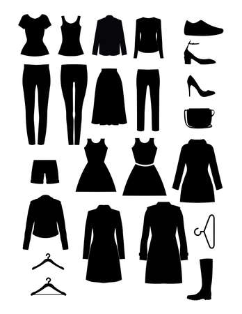 Illustration for Clothes vector design. Wardrobe items silhouette. Set of icons - Royalty Free Image