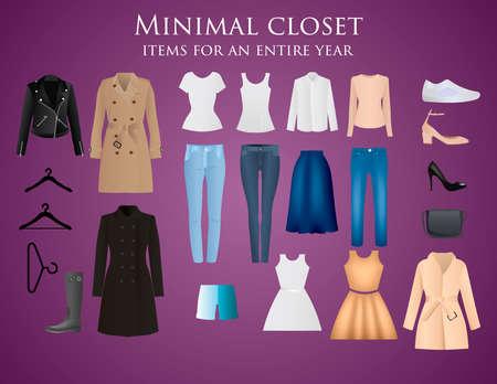 Illustration pour Clothes vector design. Set of items. Apparels collection - image libre de droit