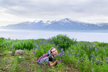 Photo for Woman having fun in a field of lupins in Iceland - Royalty Free Image