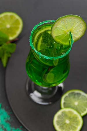 Lime and mint, Green drink for St. Patricks Day. Selective focus.
