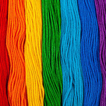 Photo pour Colorful Embroidery Floss Background. Selective focus. - image libre de droit