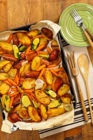 Potato and Sausage Dinner. Selective focus.