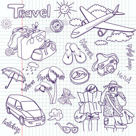 Foto de Hand drawn travel doodles. Vector illustration.  - Imagen libre de derechos