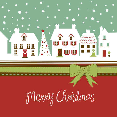 Christmas card, cute little town at christmas time