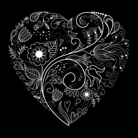 Black and White Valentine Heart illustration.