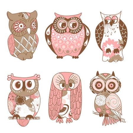 Ilustración de Collection of six different owls  - Imagen libre de derechos